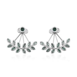 Kagem Zambian Emerald (Rnd) Jacket Earrings (with Push Back) in Platinum Overlay Sterling Silver 2.000 Ct.