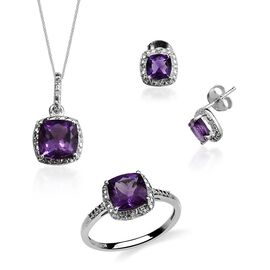 Uruguay Amethyst (Cush), Diamond Ring, Stud Earrings (with Push Back) and Pendant With Chain in Platinum Overlay Sterling Silver 4.980 Ct.