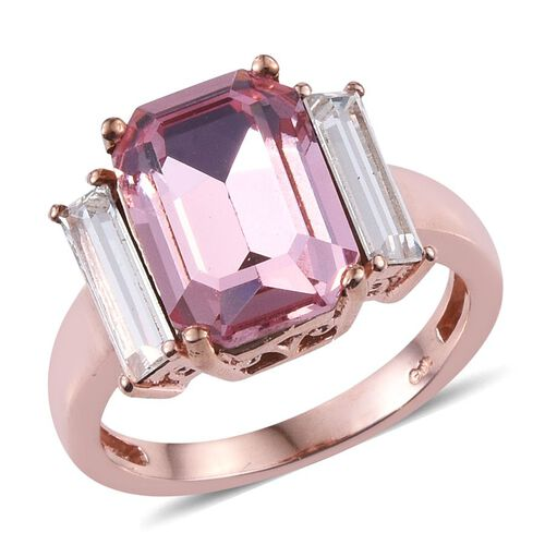 Crystal from Swarovski - Light Rose Crystal (Oct), White Crystal Ring in ION Plated Rose Gold Bond