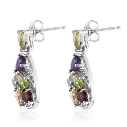 Hebei Peridot (Pear), Citrine, Mozambique Garnet, Amethyst, Sky Blue Topaz and Natural Cambodian Zircon Earrings (with Push Back) in Platinum Overlay Sterling Silver 3.930 Ct.