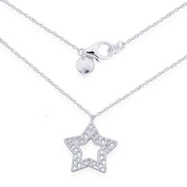 RACHEL Galley Sterling Silver Shimmer Star Pendant With Chain (Size 18), Silver wt 4.50 Gms.