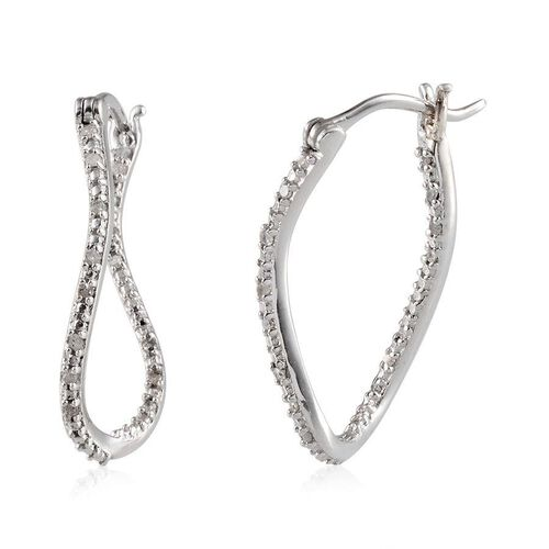 Diamond (Rnd) Earrings (with Clasp) in Platinum Overlay Sterling Silver 0.150 Ct.