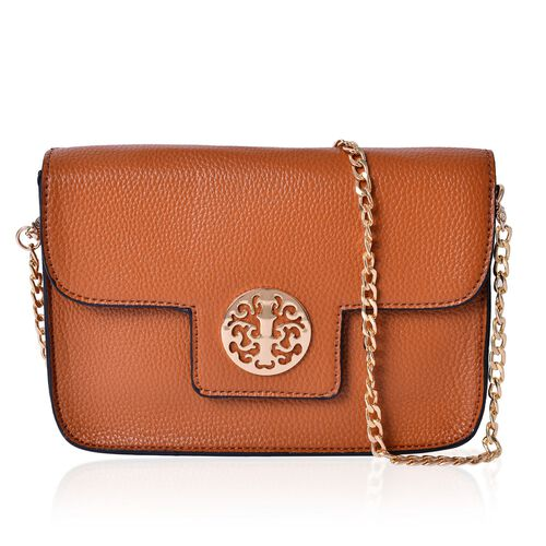 Chocolate Colour Crossbody Bag with Chain Strap (Size 21x14x4 Cm)