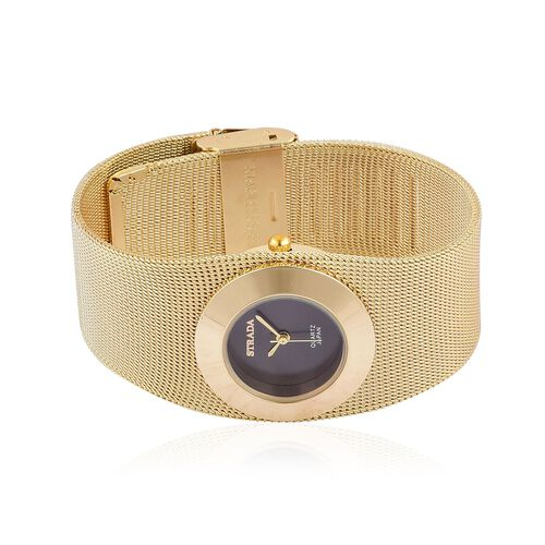 STRADA Japanese Movement Black Sunshine Dial Water Resistant Mesh Chain Bracelet Watch in Gold Tone with Stainless Steel Back