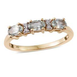 Alexandrite (0.66 Ct),Cambodian Zircon 9K Y Gold Ring  0.750  Ct.