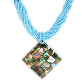 Bali Collection Glass ,Abalone Shell Necklace (Size 18)  50.000  Ct.