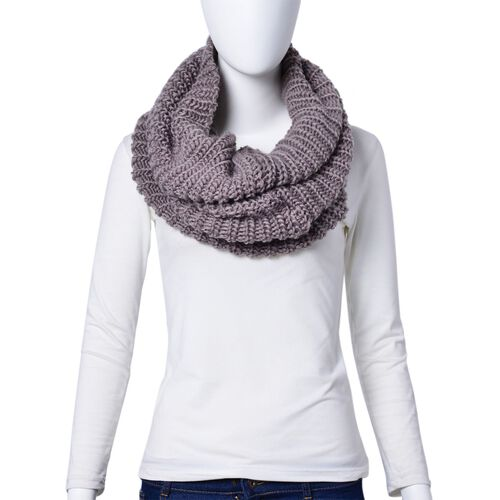 Grey Colour Braided Pattern Knitted Infinity Scarf (Size 75x32 Cm) and Hat (Size 26x24 Cm)