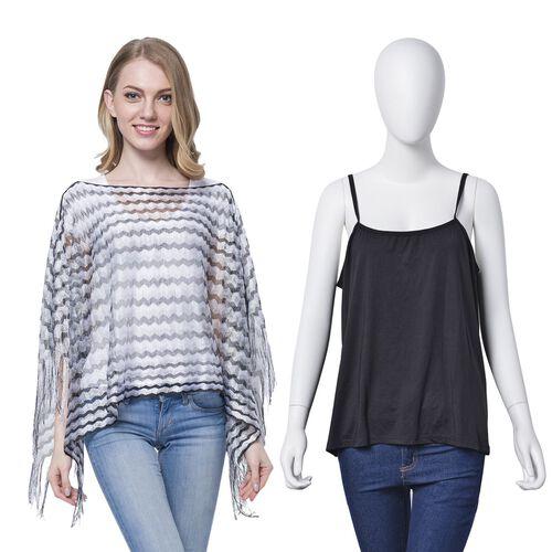 Black, White and Grey Colour Stripe Pattern Poncho (Size 90x55 Cm) and Black Colour Vest (Size 60x55 Cm)