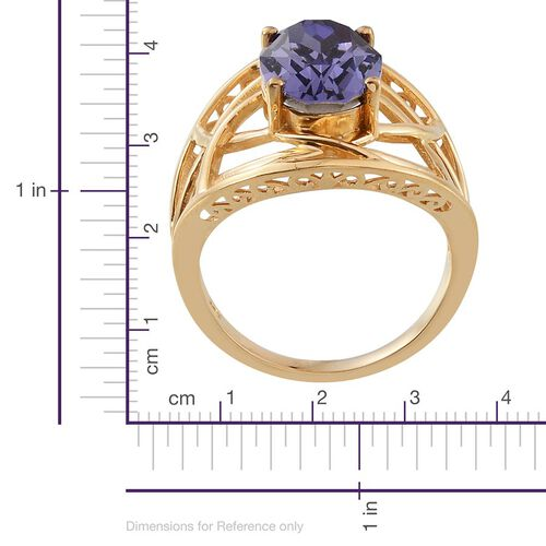 J Francis Crystal from Swarovski - Tanzanite Colour Crystal (Ovl) Solitaire Ring in 14K Gold Overlay Sterling Silver