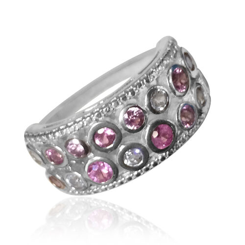 Pink Sapphire (Rnd), White Topaz Ring in Rhodium Plated Sterling Silver 2.240 Ct.