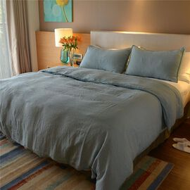 100% Linen Stone Washed Crystal Blue Colour Double Size Duvet Cover (Size 200x200 Cm) and Two Pillow Cases (75x50 Cm), Oeko Tex Certified