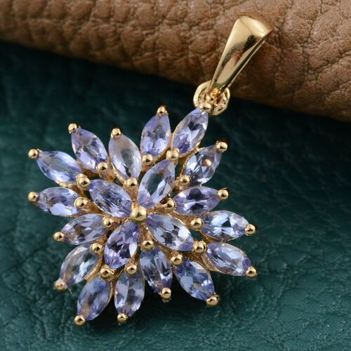 Tanzanite (Mrq) Cluster Pendant in 14K Gold Overlay Sterling Silver 1.750 Ct.