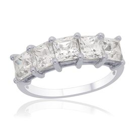 J Francis - Platinum Overlay Sterling Silver (Sqr) 5 Stone Ring Made with SWAROVSKI ZIRCONIA (Size I) 3.550 Ct.