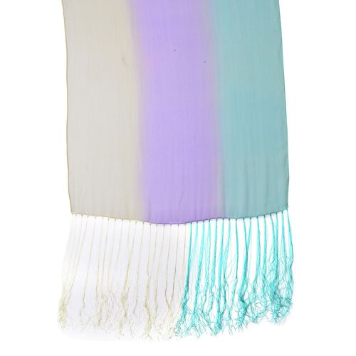 100% Mulberry Silk Purple, Blue and Yellow Colour Scarf with Long Tassels (Size 160X50 Cm)