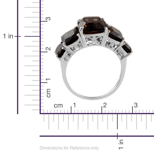 Brazilian Smoky Quartz (Cush 5.25 Ct) 5 Stone Ring in Platinum Overlay Sterling Silver 10.750 Ct.