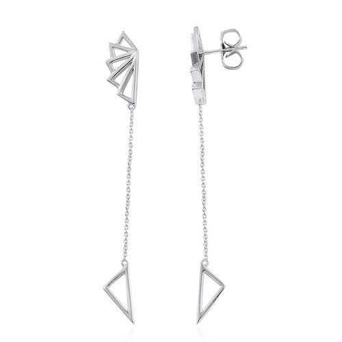 LucyQ Art Deco Earrings (with Push Back) in Rhodium Plated Sterling Silver 5.61 Gms.
