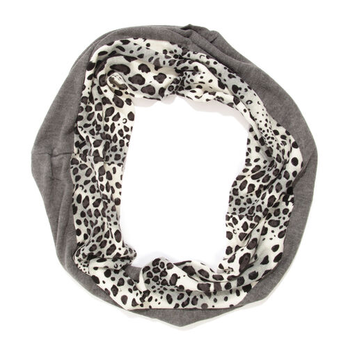 Limited Available- Black and Grey Colour Leopard Pattern Infinity Scarf (Size 74x26 Cm)