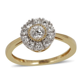 ILIANA 18K Y Gold IGI Certified Diamond (Rnd) (SI/ G-H) Ring 0.500 Ct.