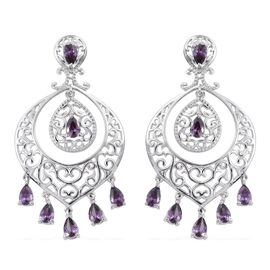 AAA Simulated Amethyst (Pear) Earrings (with Push Back) in ION Plated Platinum Bond
