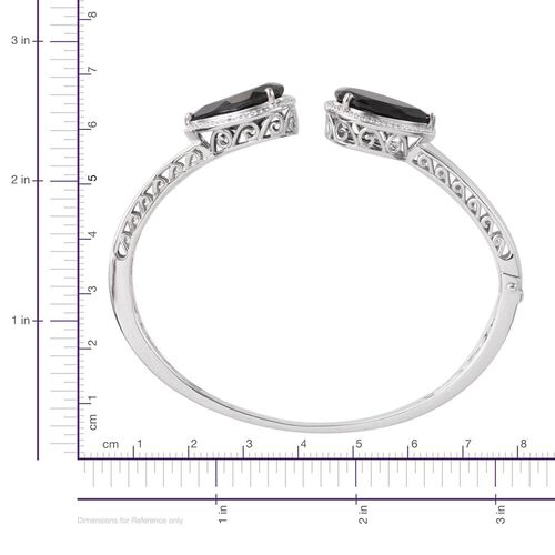Boi Ploi Black Spinel (Pear), Diamond Bangle (Size 7.5) in Platinum Overlay Sterling Silver 24.030 Ct.