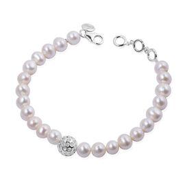 RACHEL GALLEY Fresh Water Pearl (Rnd) Bracelet (Size 8) in Sterling Silver 58.296 Ct.