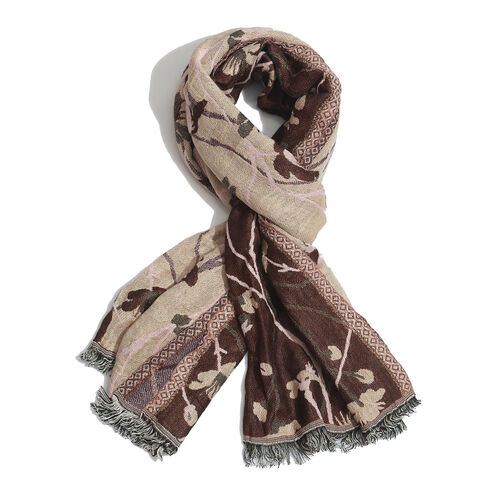 Multi Colour Floral Pattern Dark Chocolate Colour Scarf (Size 170x70 Cm)
