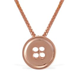 LucyQ Button Necklace (Size 18) in Rose Gold Overlay Sterling Silver 7.00 Gms.
