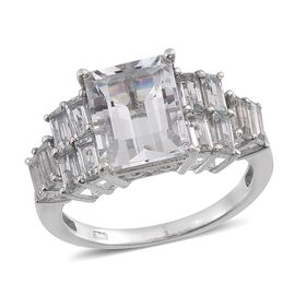 Espirito Santo Aquamarine (Oct 2.25 Ct) Ring in Platinum Overlay Sterling Silver 3.500 Ct.