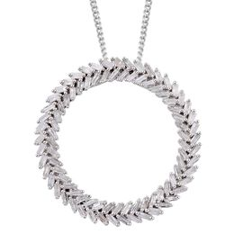 Diamond (Bgt) Circle of Life Pendant With Chain in Platinum Overlay Sterling Silver 1.000 Ct.
