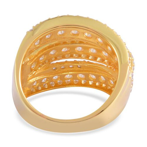 ELANZA AAA Simulated White Diamond Ring in 14K Yellow Gold Overlay Sterling Silver