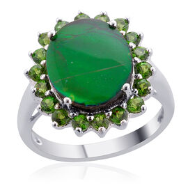 Canadian Ammolite (Ovl 3.00 Ct), Russian Diopside Ring in Platinum Overlay Sterling Silver 3.500 Ct.