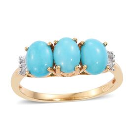 Arizona Sleeping Beauty Turquoise (Ovl), Diamond Ring in 14K Gold Overlay Sterling Silver 2.000 Ct.