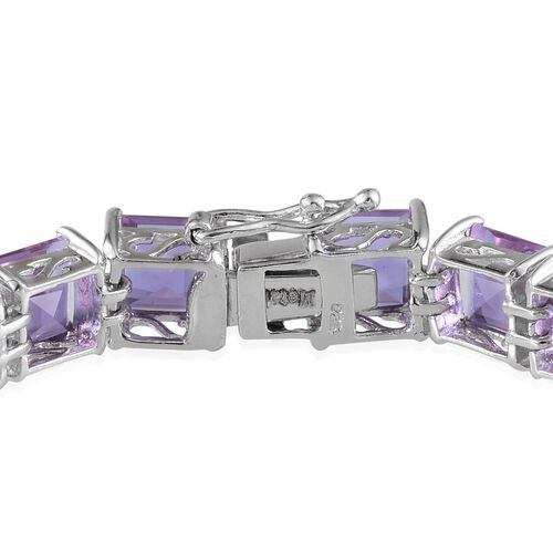Lavender Alexite (Sqr) Bracelet in Platinum Overlay Sterling Silver (Size 7.5) 37.000 Ct.