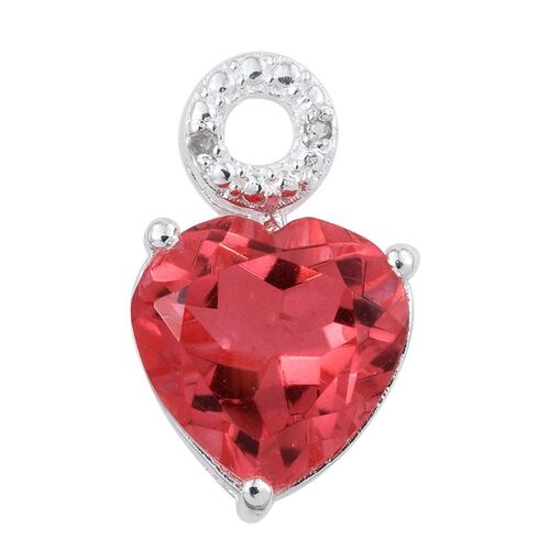 Padparadscha Quartz (Hrt 3.50 Ct), Diamond Pendant in Sterling Silver 3.510 Ct.