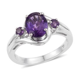 Amethyst (Ovl 1.50 Ct) Ring in Platinum Overlay Sterling Silver 1.750 Ct.