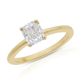 ILIANA 18K Y Gold SGL Certified Very Rare Natural Yellow Diamond (Cush) (SI Clarity) Solitaire Ring 1.000 Ct.