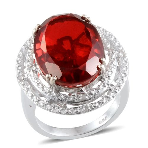 Ruby Quartz (Ovl 11.00 Ct), Diamond Ring in Platinum Overlay Sterling Silver 11.040 Ct.