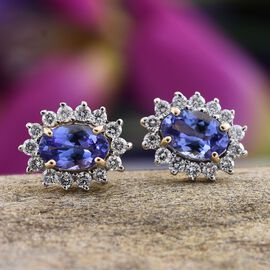 ILIANA 18K Y Gold AAA Tanzanite (Ovl), Diamond Stud Earrings (with Screw Back) 1.250 Ct.