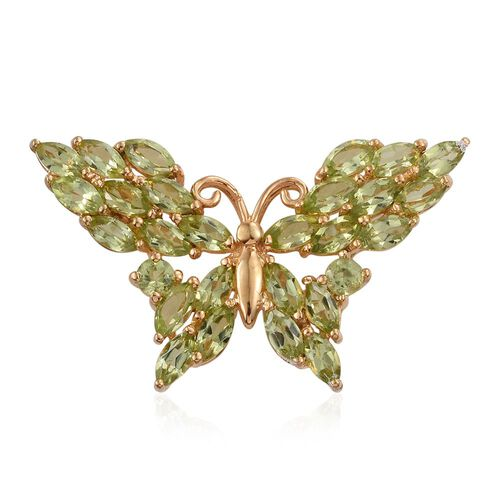 Hebei Peridot (Mrq) Butterfly Pendant in 14K Gold Overlay Sterling Silver 4.500 Ct.
