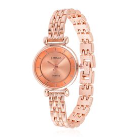 STRADA Japanese Movement Rose Gold Sunshine Pattern Dial Water Resistant Watch in Rose Gold Tone with Stainless Steel Back and Chain Strap