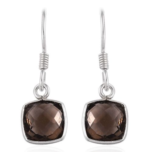 Brazilian Smoky Quartz (Cush) Hook Earrings in Sterling Silver 4.670 Ct.