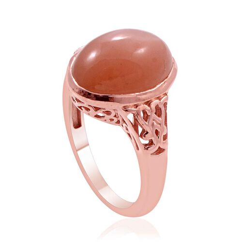 Mitiyagoda Peach Moonstone (Ovl) Solitaire Ring in Rose Gold Overlay Sterling Silver 6.000 Ct.
