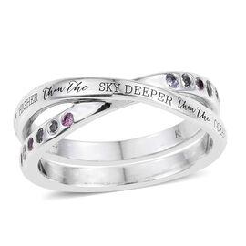 Kimberley Tanzanite (Rnd), Espirito Santo Aquamarine and Pink Sapphire Criss Cross Ring in Platinum Overlay Sterling Silver