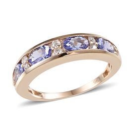 9K Y Gold Tanzanite (Ovl), White Sapphire Half Eternity Band Ring 2.400 Ct.