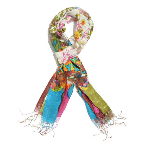 Super Auction- 65% Silk Green, Blue, Cream and Multi Colour Artistic Floral Pattern Scarf with Fringes (Size 180x50 Cm)