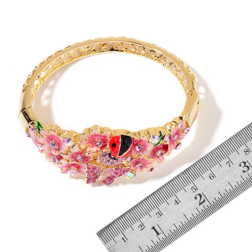 Hand Crafted - AAA Pink and Purple Austrian Crystal Multi Colour Enameled Lady Bird, Butterfly and Flowers Bangle (Size 7) in Yellow Gold Tone