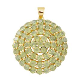 Hebei Peridot (Rnd) Cluster Pendant in 14K Gold Overlay Sterling Silver 12.250 Ct.