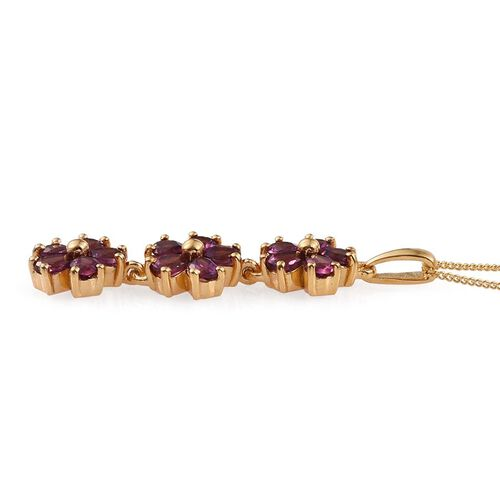 Rare Mozambique Grape Colour Garnet (Pear) Triple Floral Pendant With Chain in 14K Gold Overlay Sterling Silver 2.750 Ct.