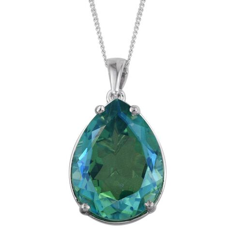 Peacock Quartz (Pear) Pendant with Chain in Platinum Overlay Sterling Silver 16.500 Ct.