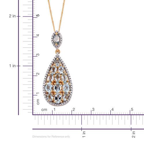 Espirito Santo Aquamarine (Ovl) Pendant with Chain in 14K Gold Overlay Sterling Silver 2.750 Ct.